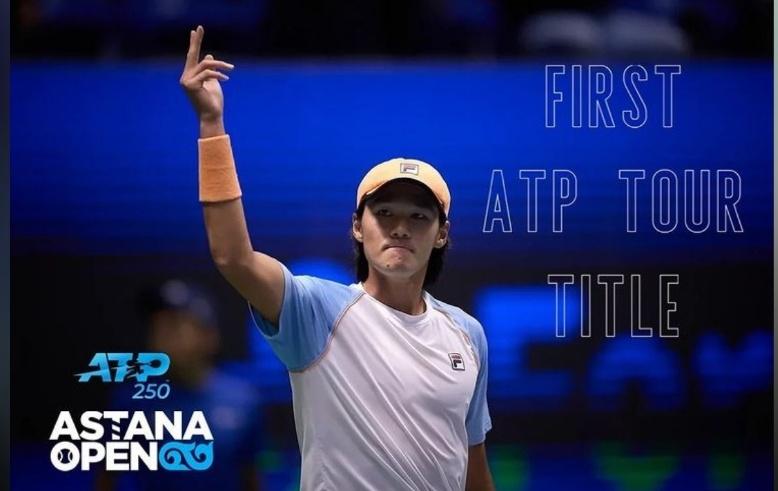 권순우가 이형택에 이어 한국 선수로는 18년 만에 남자프로테니스(ATP) 투어 대회 단식 우승을 차지했다. [카자흐스탄 테니스협회 소셜 미디어 사진]